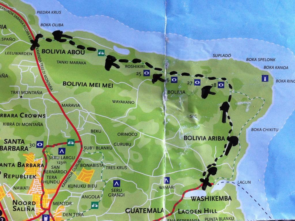 De route langs de rotsen bij Bolivia (Arriba, Mei Mei en Abou)