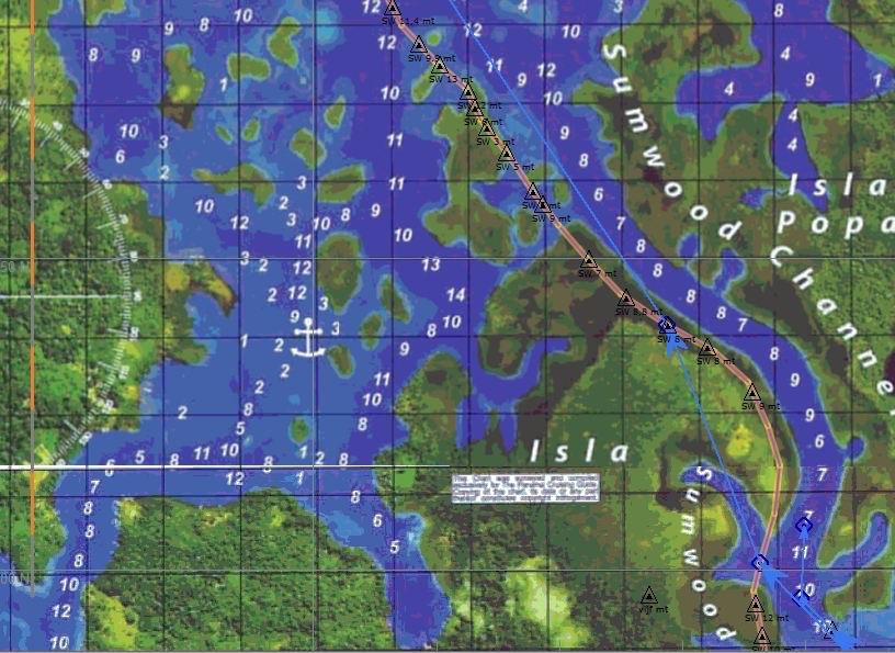 Volgens de kaarten varen we over land!