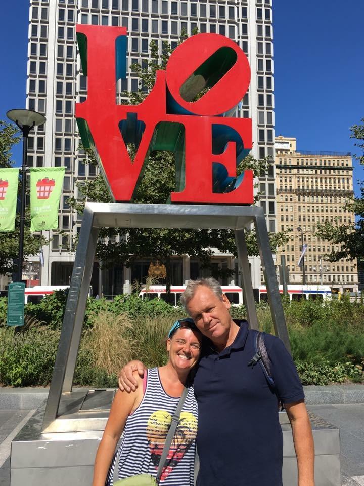The Blabber crew under the love statue
